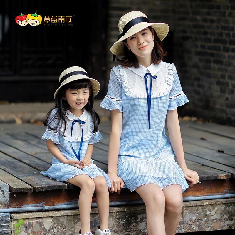 草莓南瓜亲子装夏装2018新款潮韩版母女装裙子雪纺格子连衣裙洋气