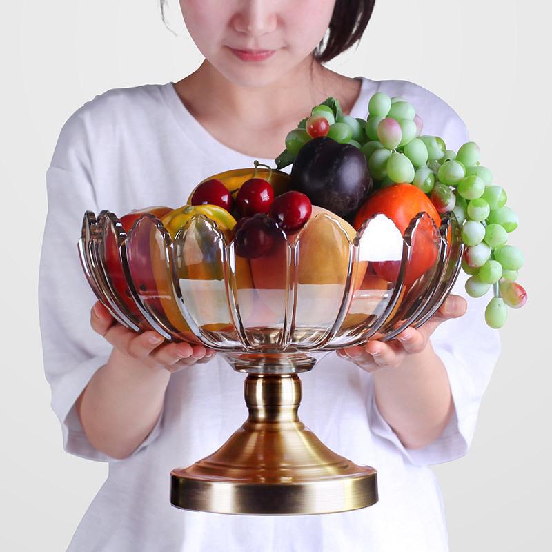 现代客厅家用茶几高脚水晶玻璃果盘摆件结婚大号欧式创意水果盘