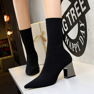 336-7 female boots thick with European and American wind brief vogue show thin and sexy high-heeled pointed nightclub el