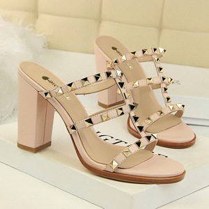 18017-Q1 euramerican fashion wind restoring ancient ways is thick with high with hollow out peep-toe metal rivets slip