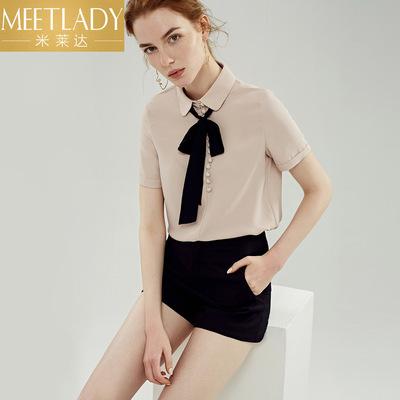 米莱达撞色系带帅气衬衫2018夏季新款时尚通勤宽松短袖雪纺衫女