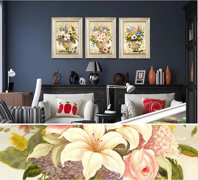 装饰画现代简约沙发背景墙画欧式壁画有框三联画卧室餐厅挂画