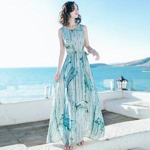 2018夏季新款显瘦沙滩裙三亚海边度假显瘦雪纺连衣裙收腰无袖长裙
