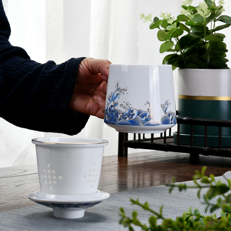Ceramic cups with cover filter contracted large capacity office cup mark cup personal separation special tea tea cup
