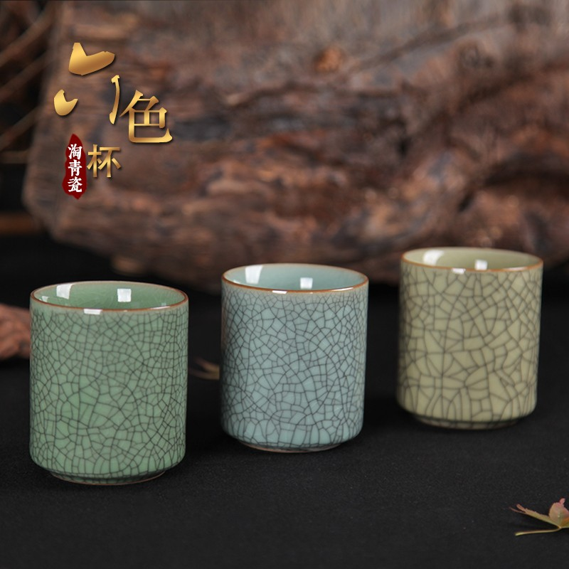 Celadon large six kung fu tea cups to welcome in a single cup of water glass with ceramic cups together scene straight expressions using color ceramic