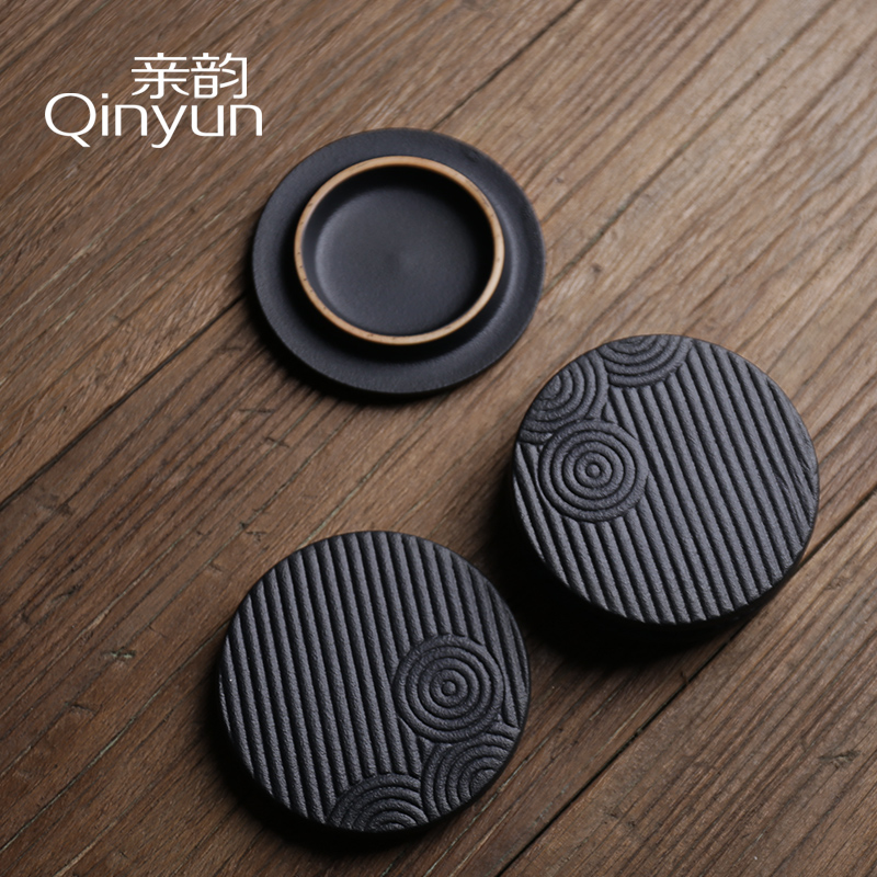 Poly real (view sample tea cup coarse pottery individual CPU master cup of black kung fu tea cups small bowl with Japanese cup mat