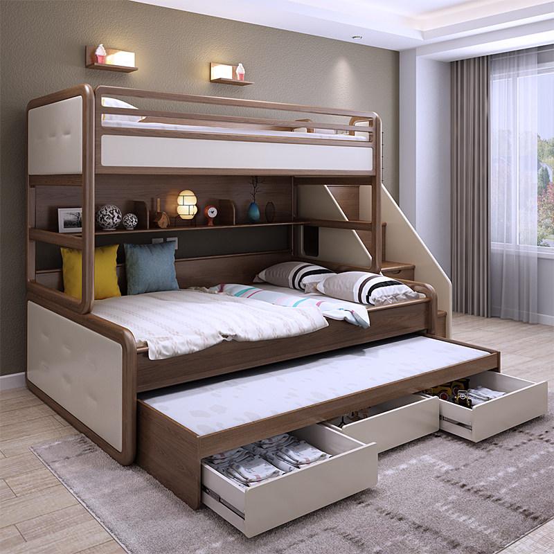 全实木北欧白腊木软包高低床子母床成人男孩女孩上下床三层儿童床