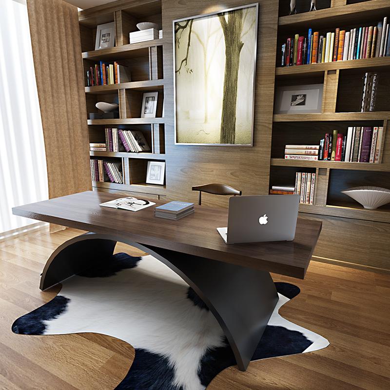 北欧实木书桌电脑桌台式桌家用办公桌简约现代老板桌美式LOFT桌子