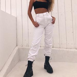 2019春季新款欧美bf风百搭修身显瘦束口休闲裤女个性束口长裤女