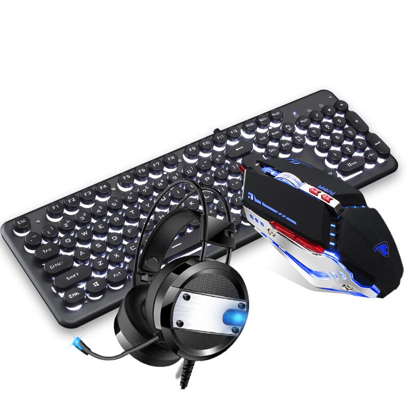 牧马人有线真机械手感机器朋克复古键盘鼠标耳机三件套装吃鸡键鼠办公家用游戏笔记本台式机外设曼巴狂蛇两件