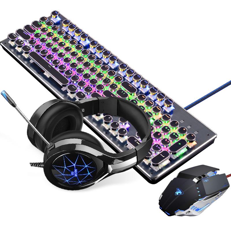 蒸汽朋克复古机械键盘鼠标耳机三件套装游戏小苍外设店cf网吧网咖小智电竞电脑笔记本台式机