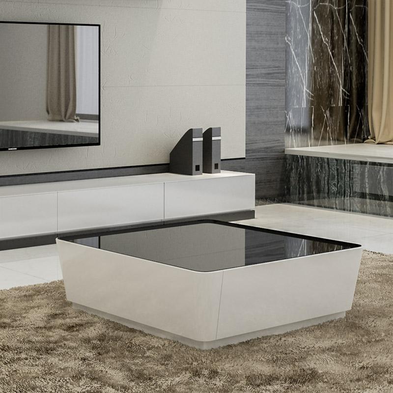 茶几简约 小户型现代风格正方形茶几电视柜组合 创意客厅钢化玻璃