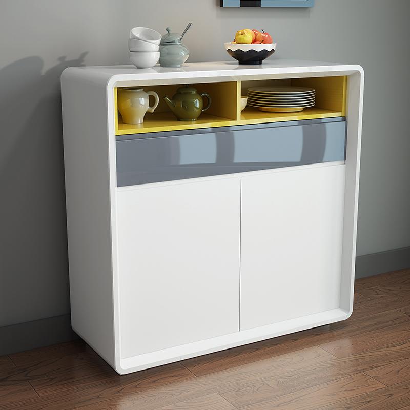 餐边柜现代简约 小户型家用客厅窄白色储物柜 餐厅大容量烤漆边柜