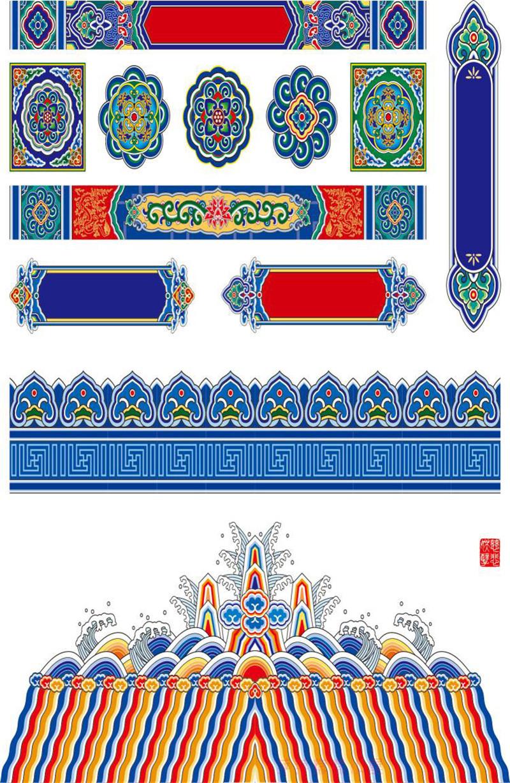 吉祥八宝图古典花纹藏式宫殿雕梁画栋佛堂装饰壁画龙纹边框背景墙图片