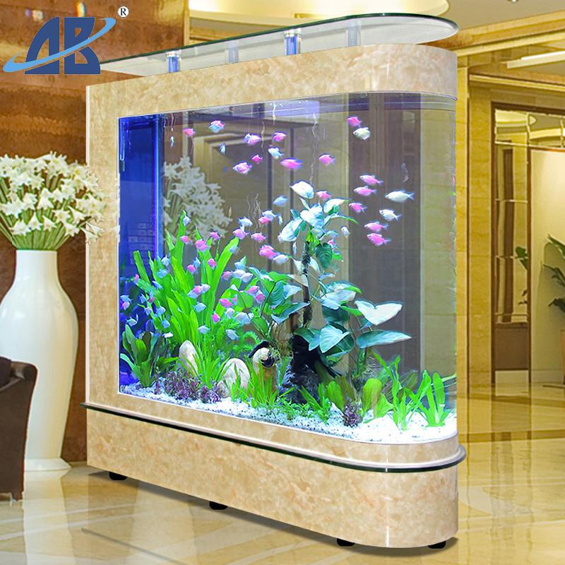 欧宝子弹头金鱼缸水族箱欧式大中型玻璃生态客厅1.2米落地免换水