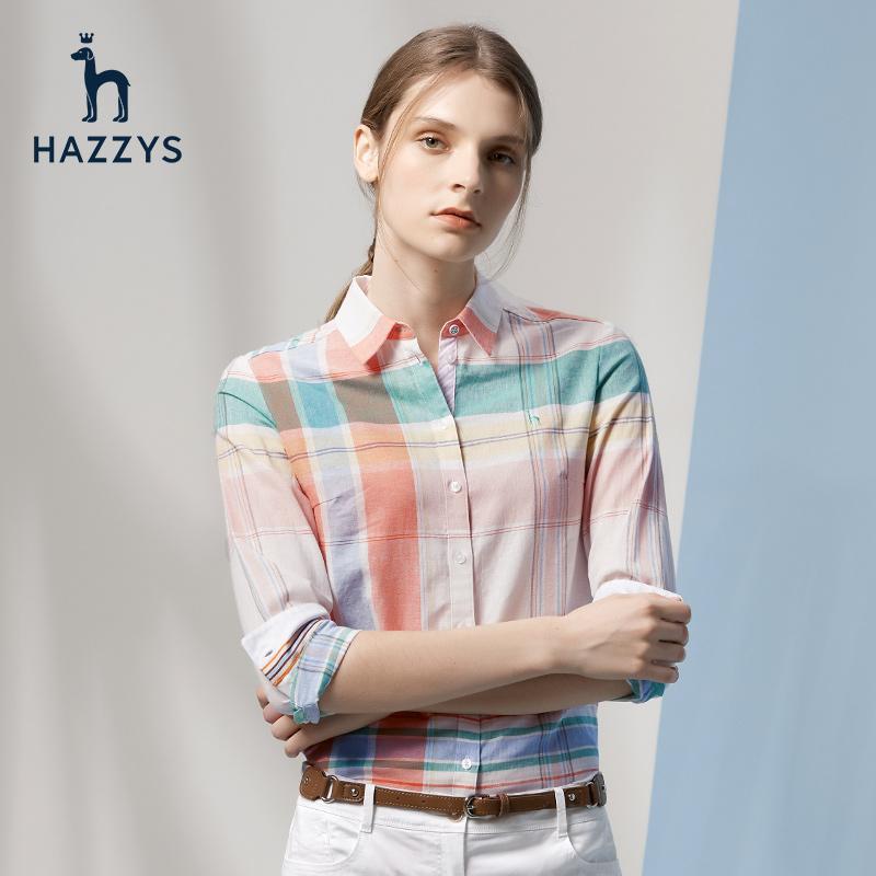 Hazzys哈吉斯2018春夏新款女上衣韩版修身休闲女装格子女长袖衬衫