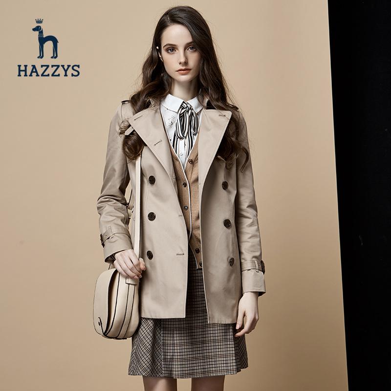 Hazzys哈吉斯新款潮流女装中长款风衣女修身休闲女士外套韩版上衣