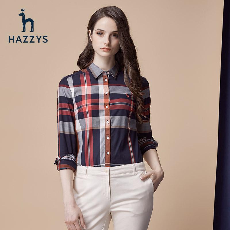 Hazzys哈吉斯秋冬新款女士英伦格子长袖衬衫女装休闲纯棉衬衣