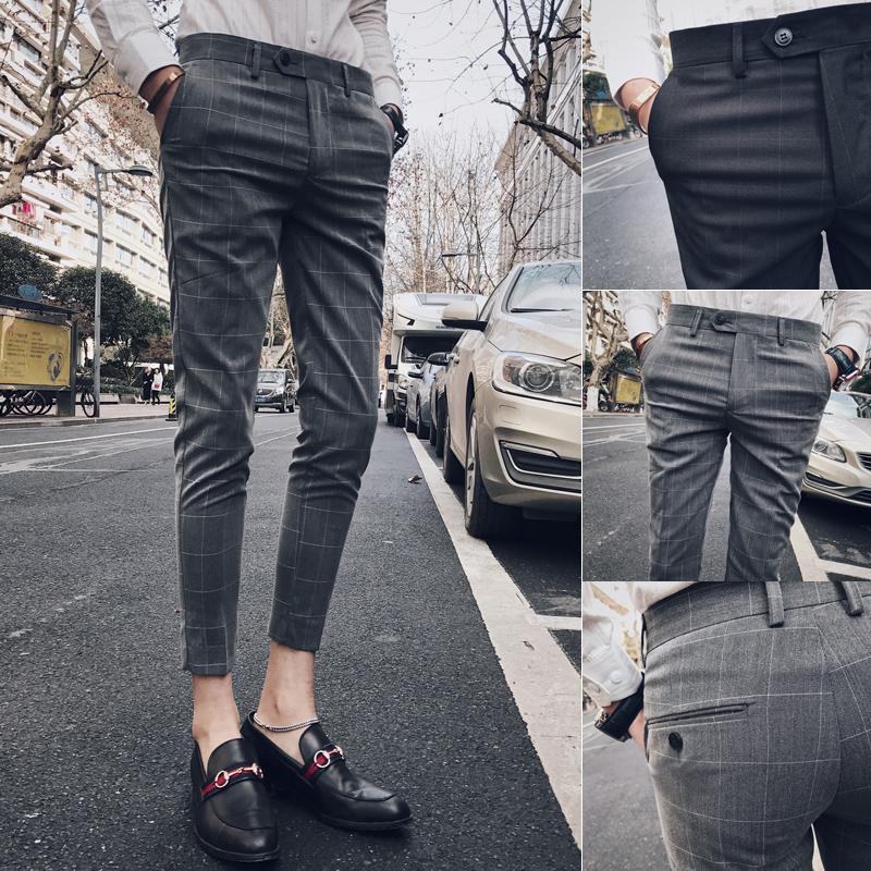 格子九分裤男韩版潮流小脚裤青年紧身显瘦英伦小西裤修身9分免烫