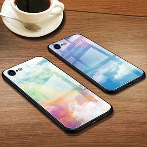 苹果7手机壳原创文艺水彩星空图案苹果8手机壳iPhone7plus玻璃光面全包软壳iPhone8plus保护套彩绘新款小清新