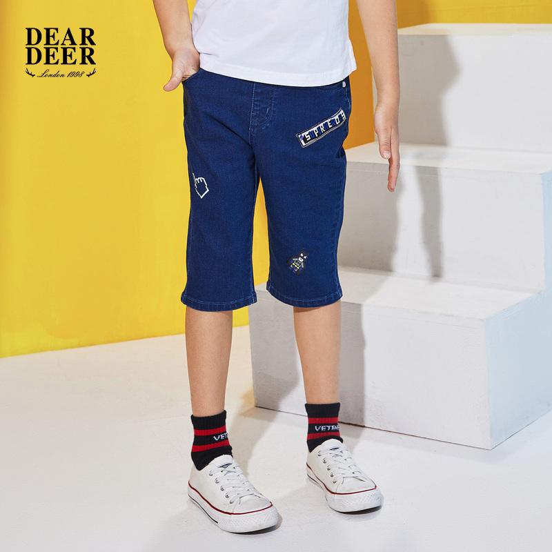 迪迪鹿童装2018夏季新品男童中裤五分裤牛仔裤新款印花潮包邮