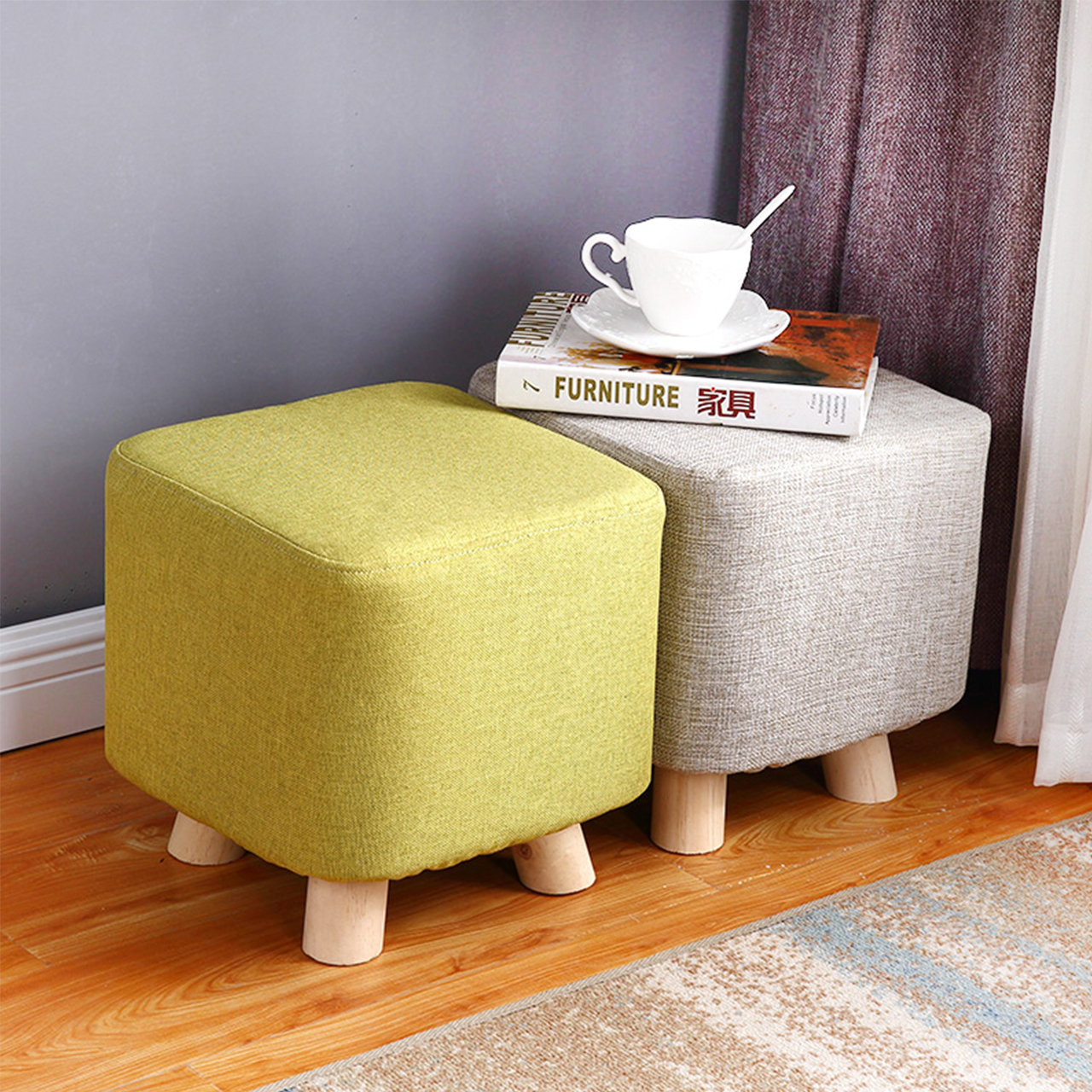 日益红 实木布艺家用矮凳  多款