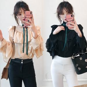 PQ78559# 新款实拍大码女装韩版雪纺上衣
