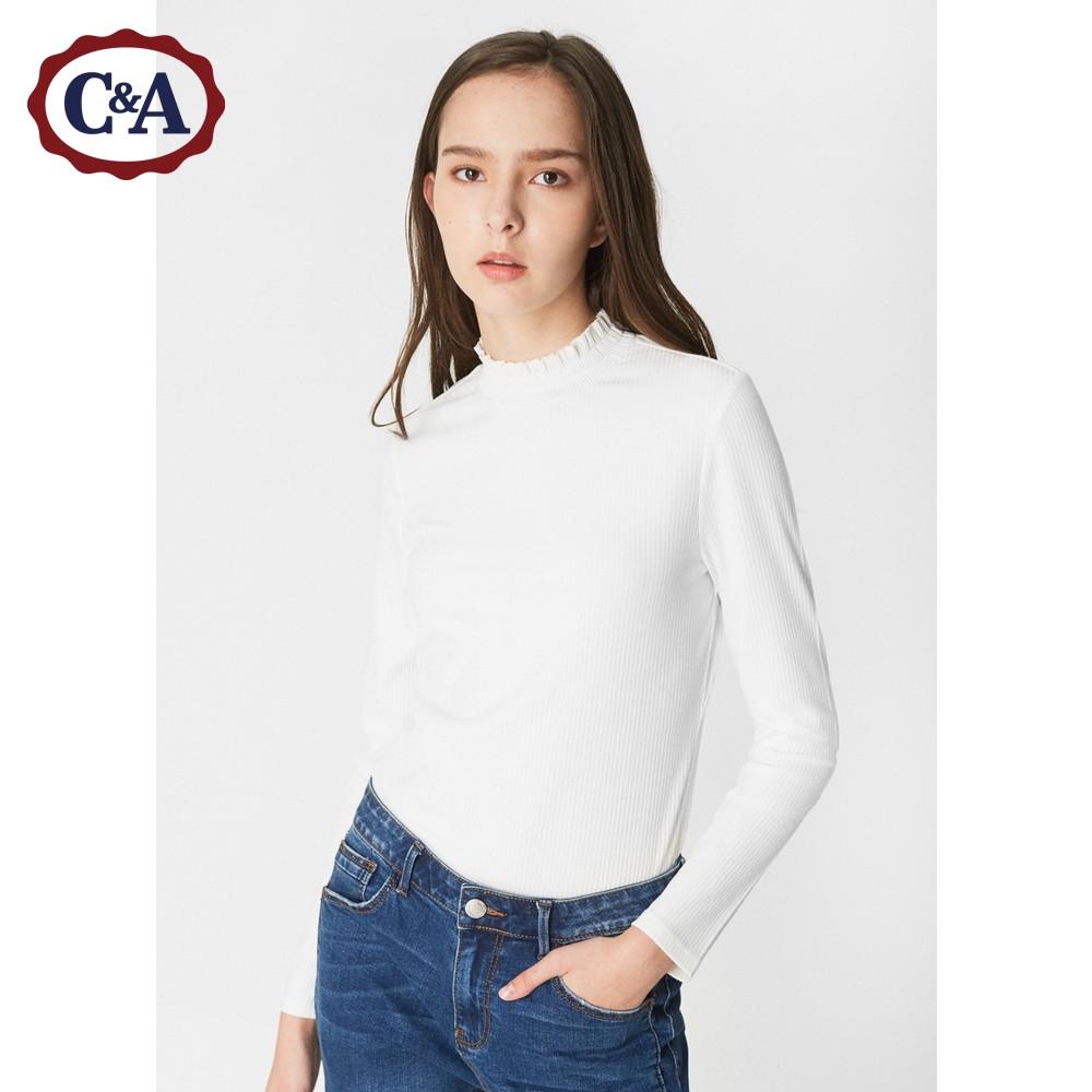 C&A女装弹力修身条纹长袖T恤 秋季针织罗纹打底衫CA200210677
