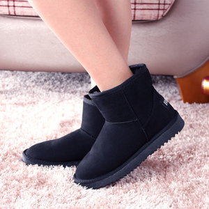 人本秋冬新款女雪地靴子 平底绒面保暖休闲短靴厚底棉靴女鞋短筒