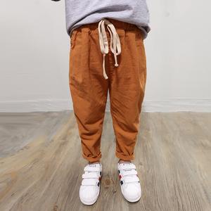 童装儿童男童裤子薄款棉麻休闲长裤男宝宝中大童裤子防蚊裤灯笼裤