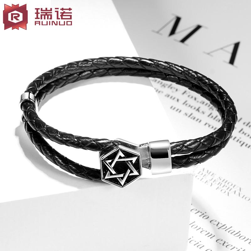 瑞诺925银手链男士 韩版个性学生编织六星皮手链时尚纯潮男饰品
