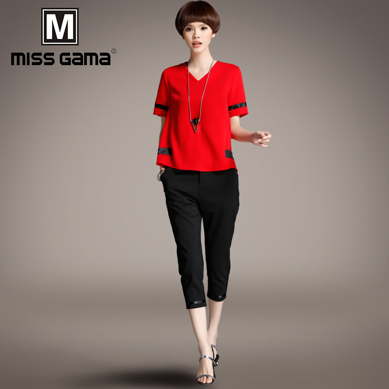 2018夏装新款女装大码短袖T恤七分裤运动两件套时尚休闲套装女潮