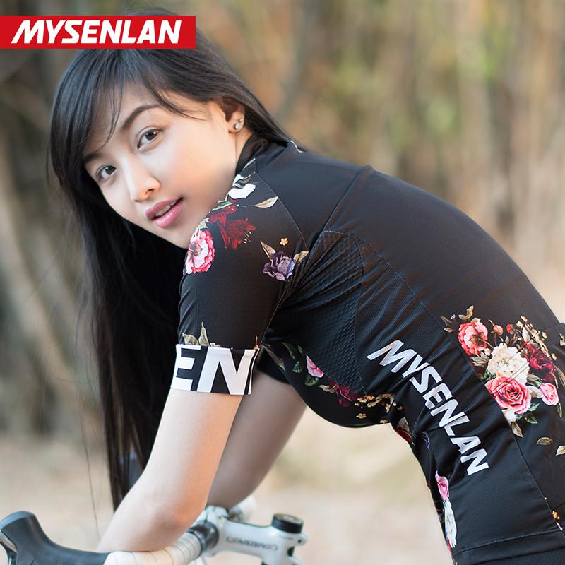新品迈森兰 夏季短袖骑行服上衣女子自行车山地车速干衣黑色花园