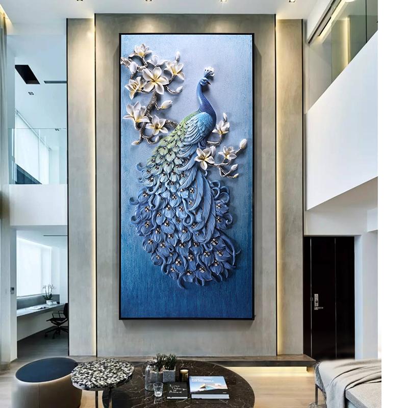 孔雀简约大气玄关装饰画客厅大尺寸挂画欧式壁画过道走廊大幅墙画