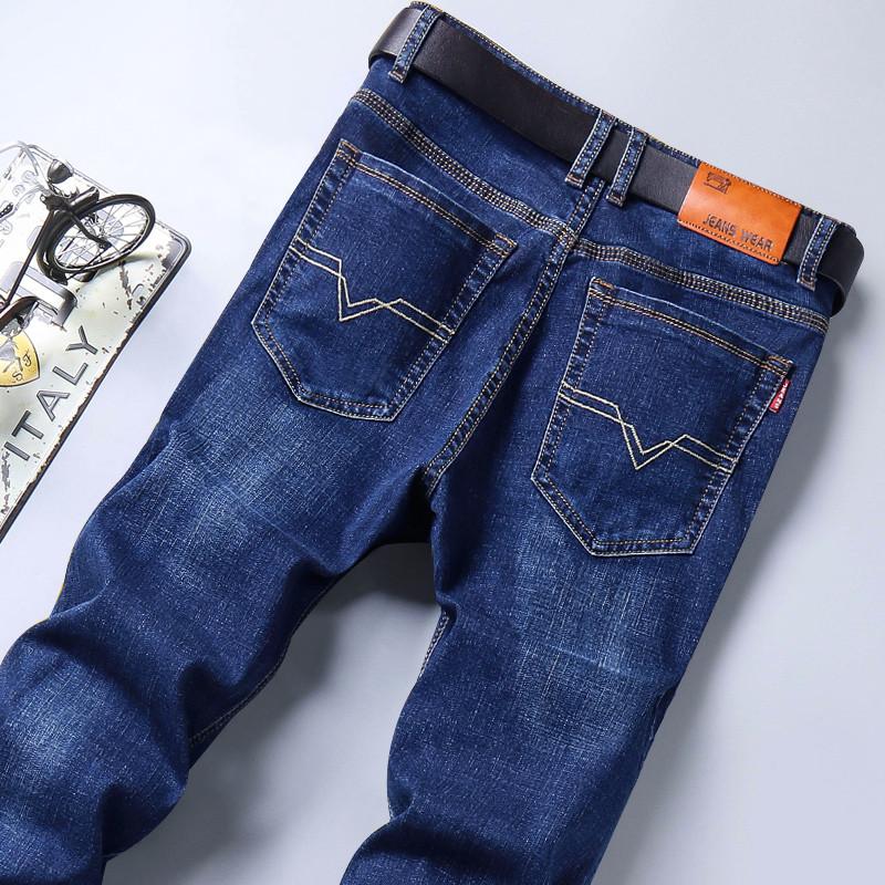 秋季牛仔裤男修身休闲直筒新款弹力青年大码宽松黑色加绒男士裤子