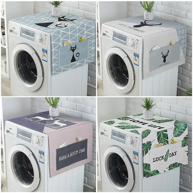 滚筒洗衣机罩微波炉床头柜棉麻防水盖巾现代冰箱盖布遮盖防尘布艺