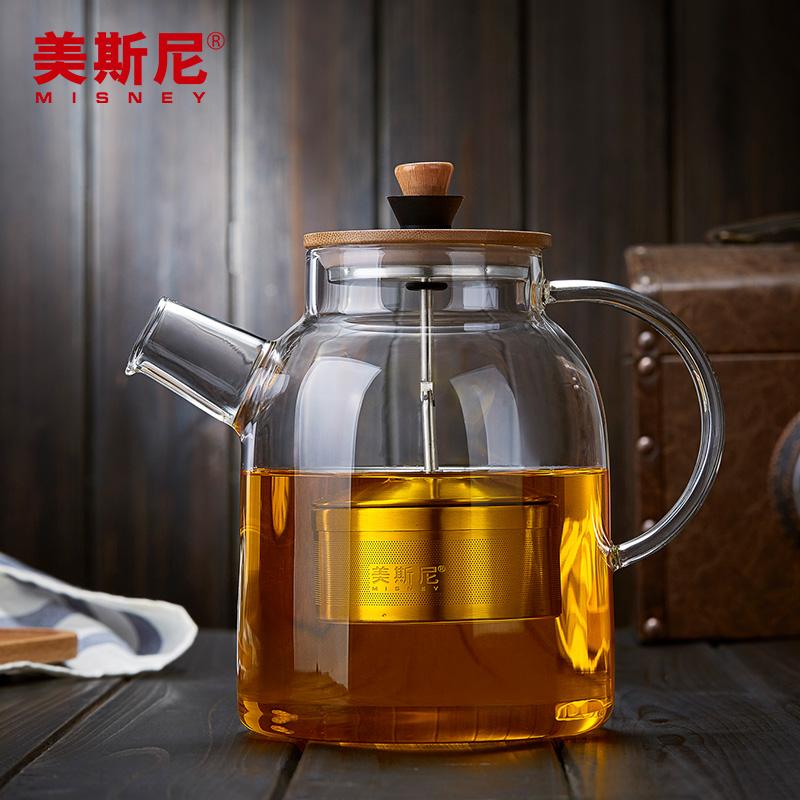 美斯尼 花茶壶加厚玻璃大号煮茶壶耐热高温烧水壶泡茶壶茶具套装