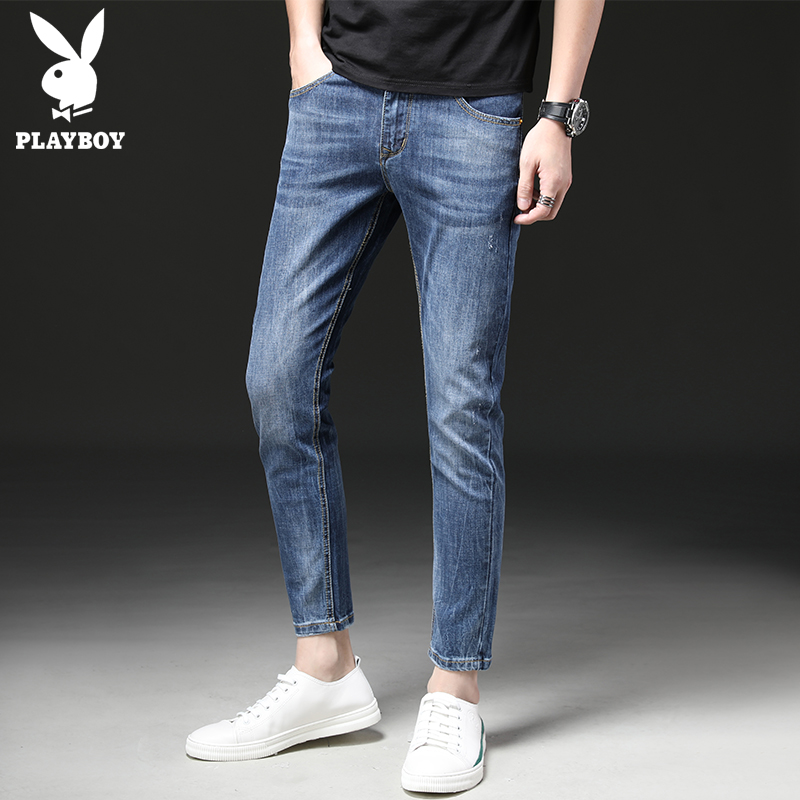 Playboy nine points jeans men's Tide brand slim feet wild Korean version of the new leisure 9 points pants