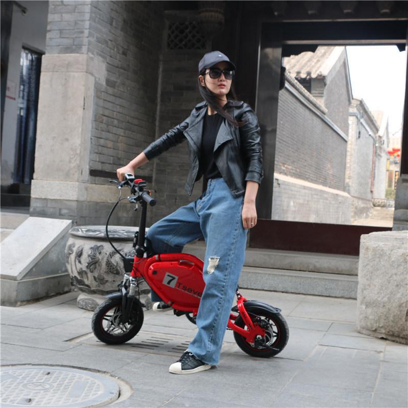 t7锂电迷你电动车自行车成人女48V折叠助力小型电瓶车代步工具