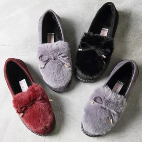 秋冬保暖加绒豆豆鞋懒人鞋平底女棉鞋
