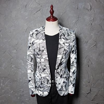 Printed dress men's leisure suit jacket studio host barber's suit stage performance