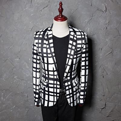 Black White Lattice Plaid Suit Nightclub DJ Singer Fashion Casual Suits Jacket and Pants Costume Homme
