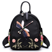 Special offer every day new flower embroidery backpack manual 3D Rhinestone Dragonfly single shoulder backpack retro fashion leisure
