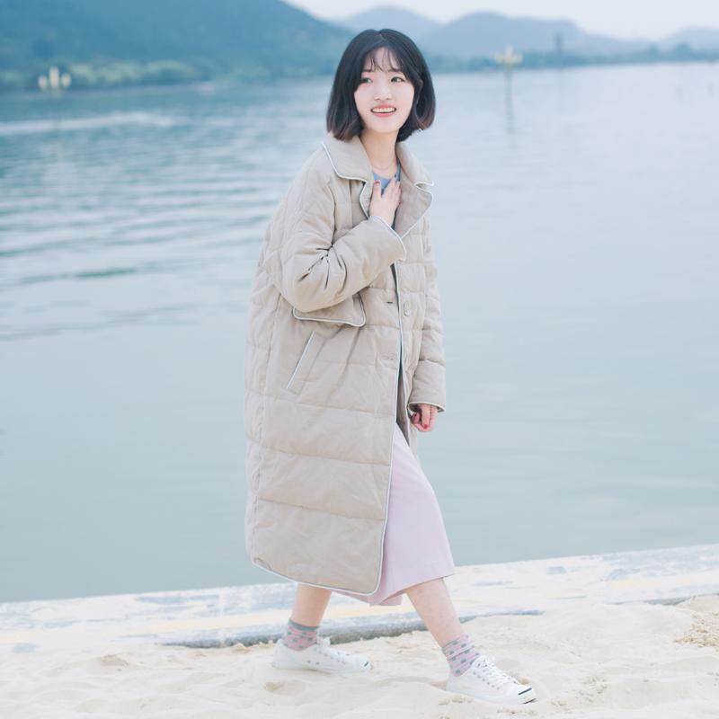 回忆森林冬季日系文艺白鸭绒加厚宽松外套中长款棉服棉质羽绒服女