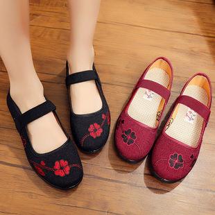 老北京布鞋女大码女鞋41-43妈妈鞋加肥加大酒店服务员鞋子女 黑色
