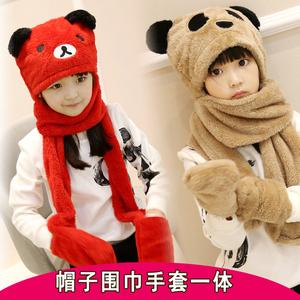 秋冬天男女童儿童围巾帽子手套三件套装一体宝宝加厚护耳帽围脖潮