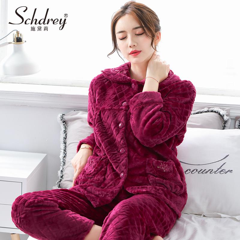 秋冬季中老年人睡衣女冬珊瑚绒加厚中年妈妈装法兰绒家居服套装