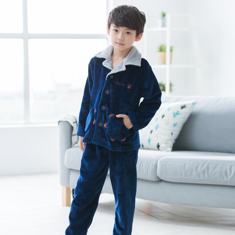 噜噜牛儿童睡衣男孩冬季珊瑚绒加厚款宝宝中大童男童法兰绒家居服