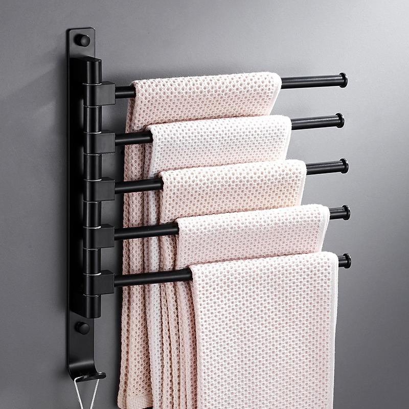 卫生间黑色活动毛巾架毛巾杆旋转浴室毛巾挂置物架三杆四杆免打孔