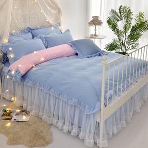 床上三件套公主风少女心被罩甜美白纱蕾丝花边纯色单被套180x...